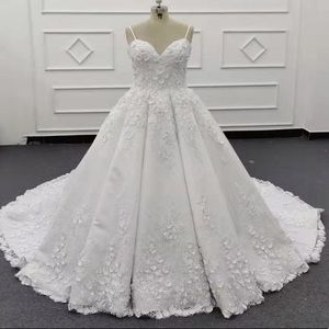Elegant Ball Gown Wedding Dress with 3D Flowers
